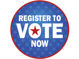 CIrcle saying Register to Vote Now
